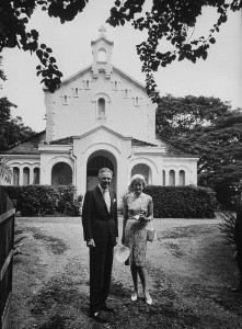 US Ambassador Henry Cabot Lodge Jr and his wife leaving St. Christopher's Anglican