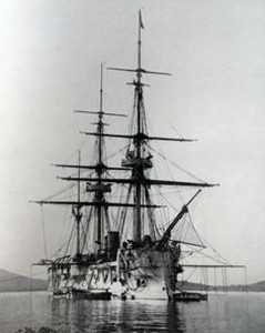 La Triomphante, Galissonnière-class ironclad part of the Far East Squadron