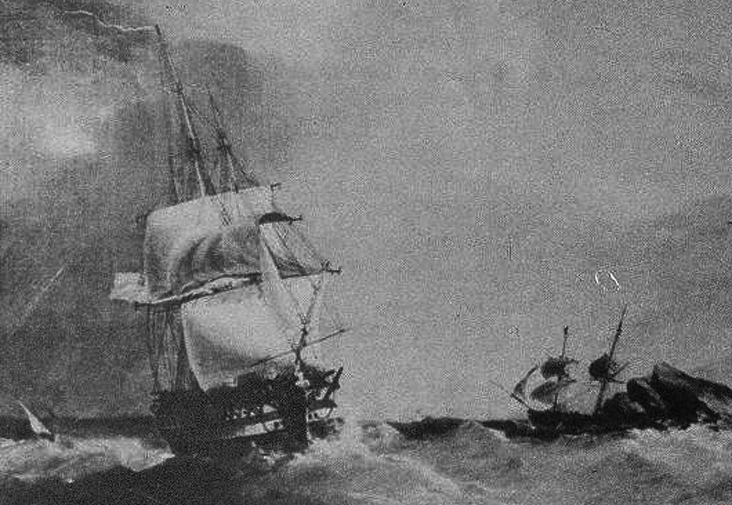 USS Franklin rounding Portovenere near La Spezia in about 1819
